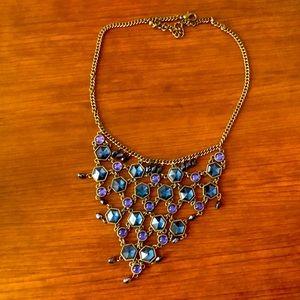 Blue jeweled statement necklace